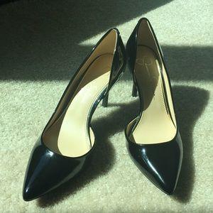 Never worn black patent leather stiletto heels